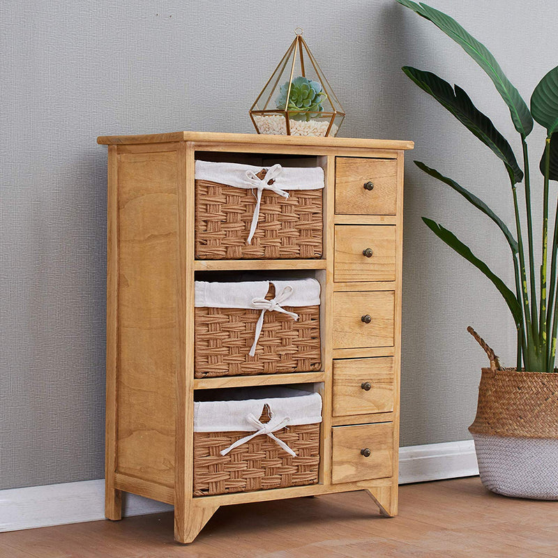 Paulownia Original Wood Colour 5-Layer Cabinet Drawer Chest with Wicker Baskets