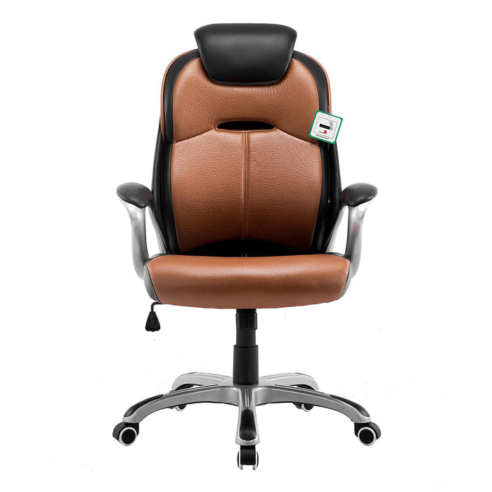 extra padded pu leather executive swivel office chair with padded headrest brown