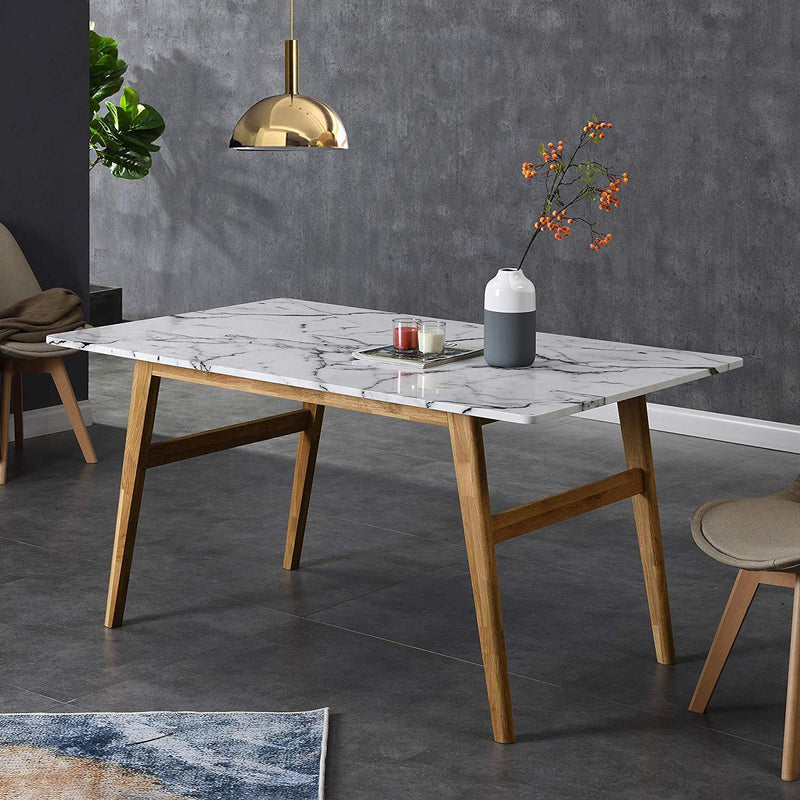ASCONA White Marble Effect 6-Seater Dining Table with Solid Oak Legs 2