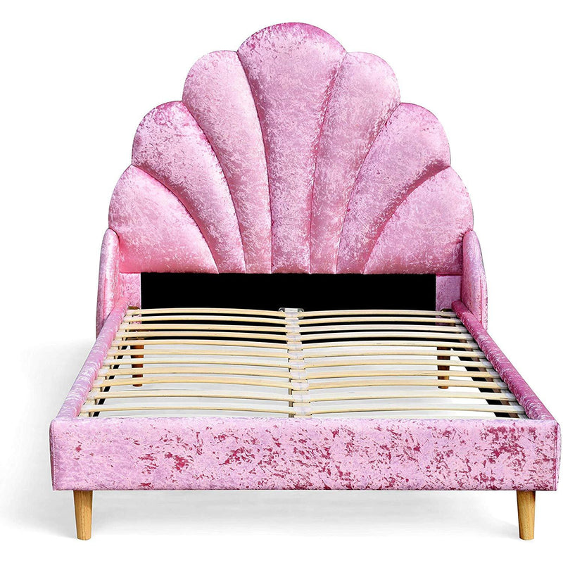 Cherry Tree Furniture ARIEL Pink Crushed Velvet Upholstered Princess Bed with Scalloped Headboard