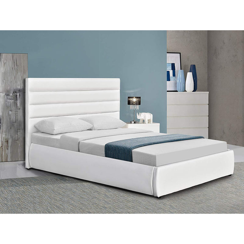 DELPHINE PU Leather Gas-lift Storage Bed with Tufted Headboard, White