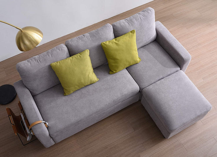 Campbell 3 Seater Sofa with Reversible Chaise in Light Grey 2