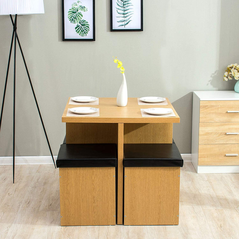 5 piece oak colour dining table and 4 faux leather stools with storage dining room set