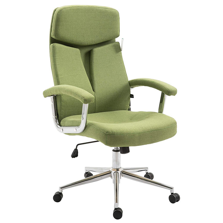 Premium Fabric Swivel Office Chair Computer Desk Chair with Chrome Armrests & Base, Green