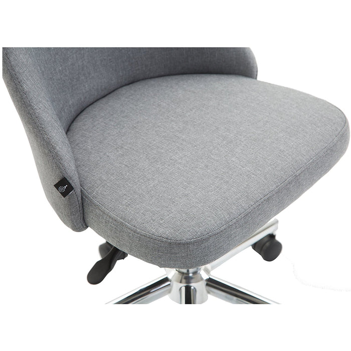 brushed fabric swivel chair computer desk office chair with chrome base grey