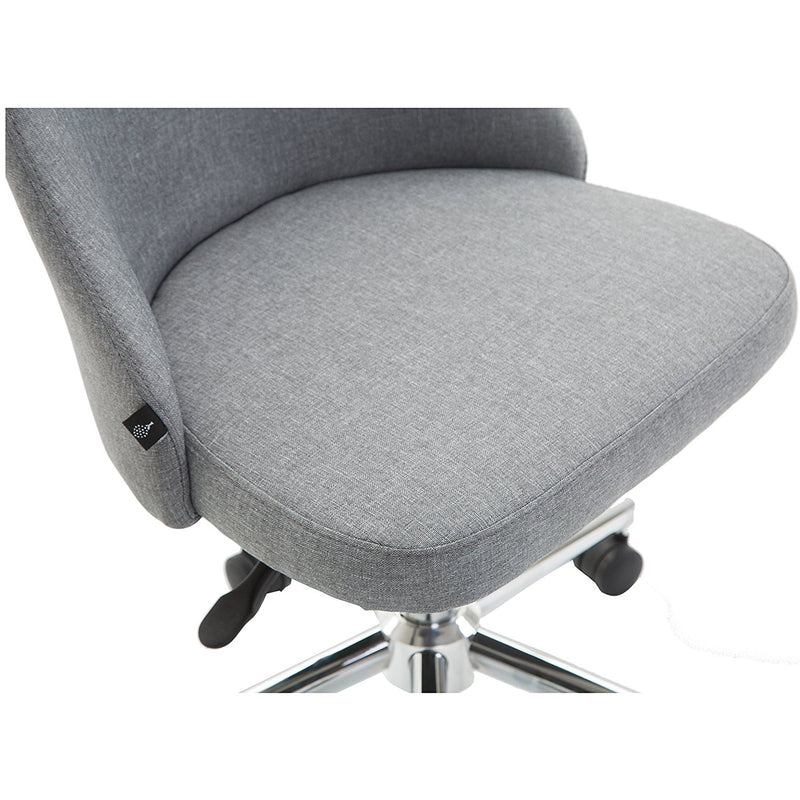 Brushed Fabric Medium Back Computer Desk Office Swivel Chair with Chrome Base, Grey