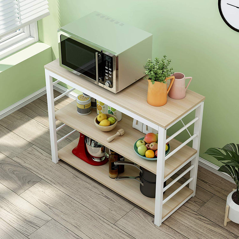 Cherry Tree Furniture Microwave Rack Shelf, Kitchen Organiser Workstation White Oak Colour, A