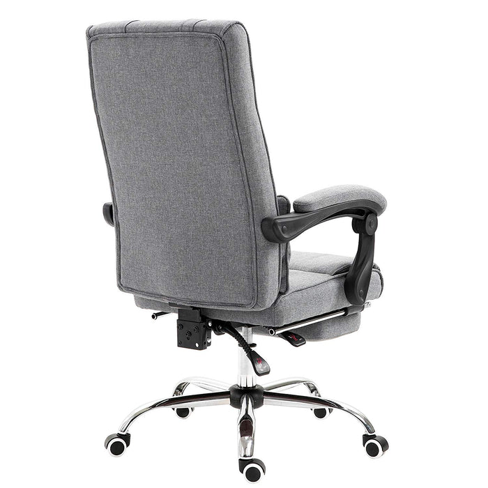 premium executive reclining desk chair with footrest headrest and lumbar cushion support grey fabric