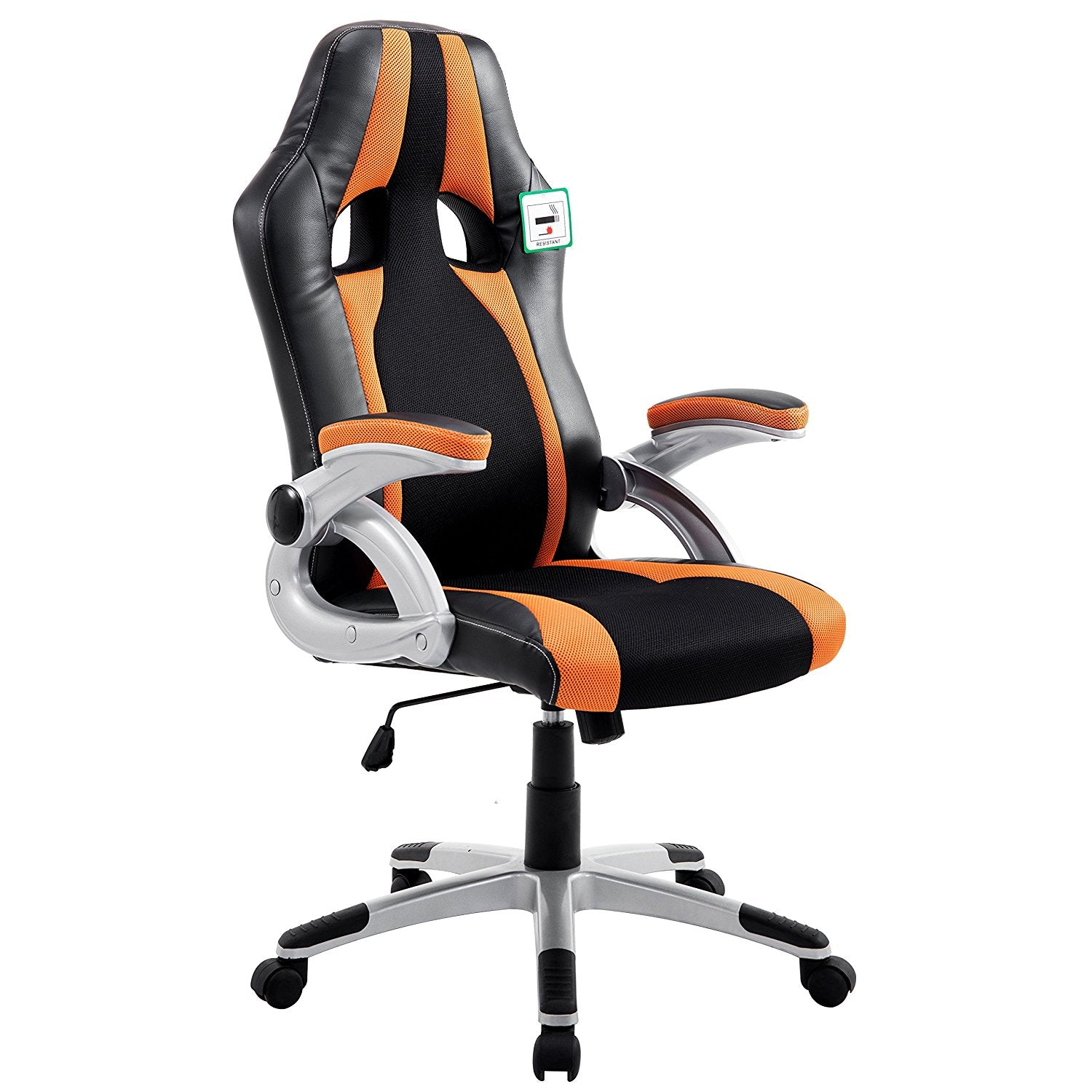 CTF High Back PU Leather & Fabric Racing Gaming Swivel Chair with Adjustable Armrests, Orange