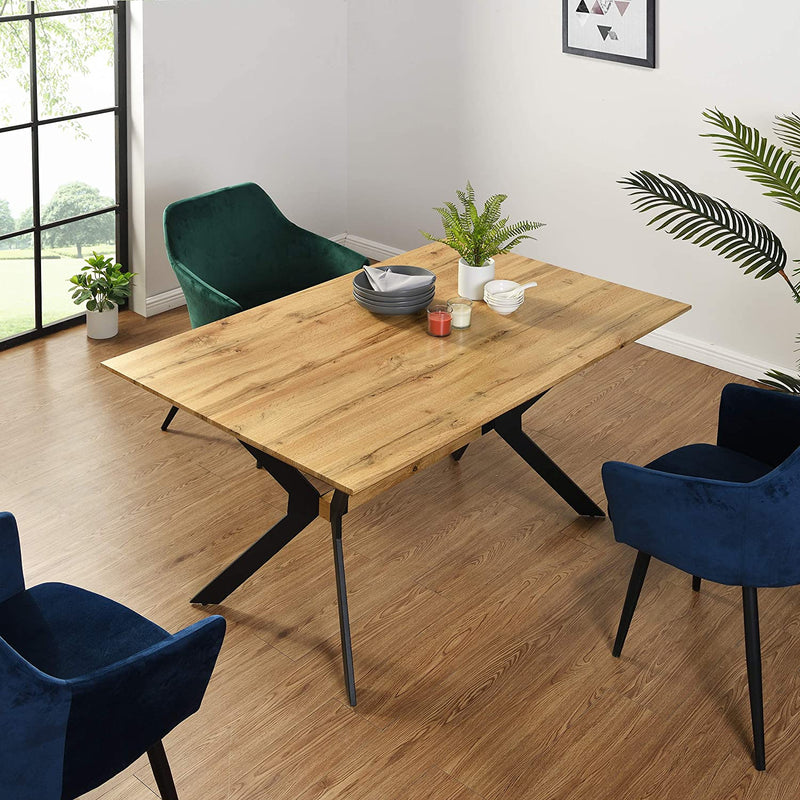 Granby Wotan Oak Effect 140cm Dining Table with Geometric Metal Legs 2