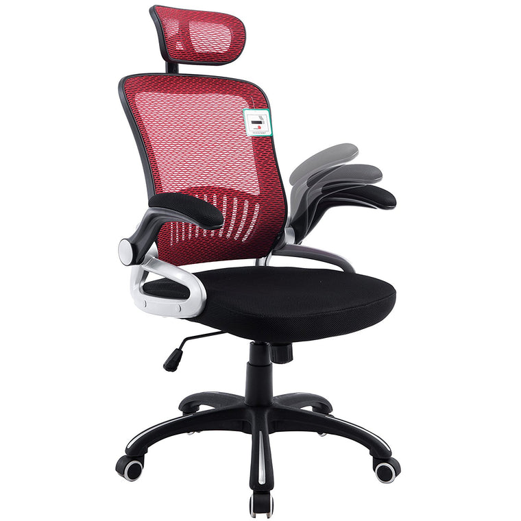 Mesh High Back Extra Padded Swivel Office Chair with Head Support & Adjustable Arms, Red