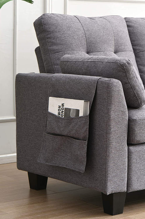 Brunswick 4 Seater Storage Chaise Sofa in Grey 5