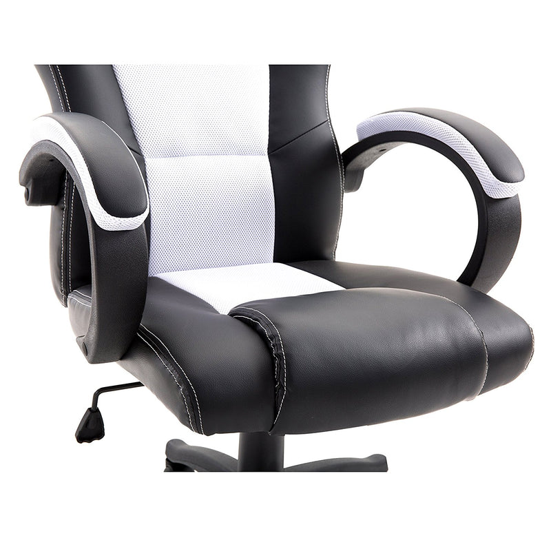 CTF Sport Racing Gaming PU Leather & Fabric Swivel Office Chair, White