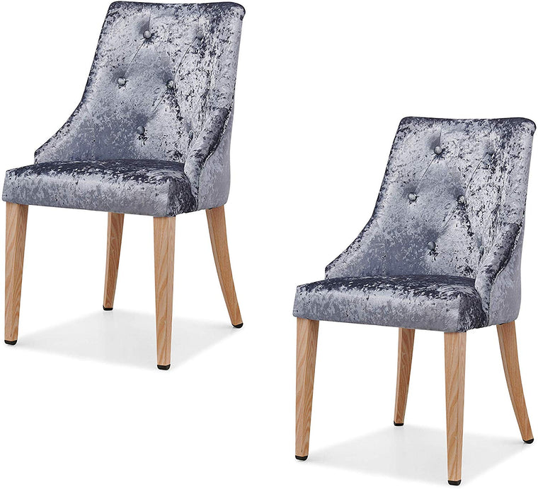 Burnaby Set of 2 Crushed Velvet Dining Chairs with Buttoned Back in Grey