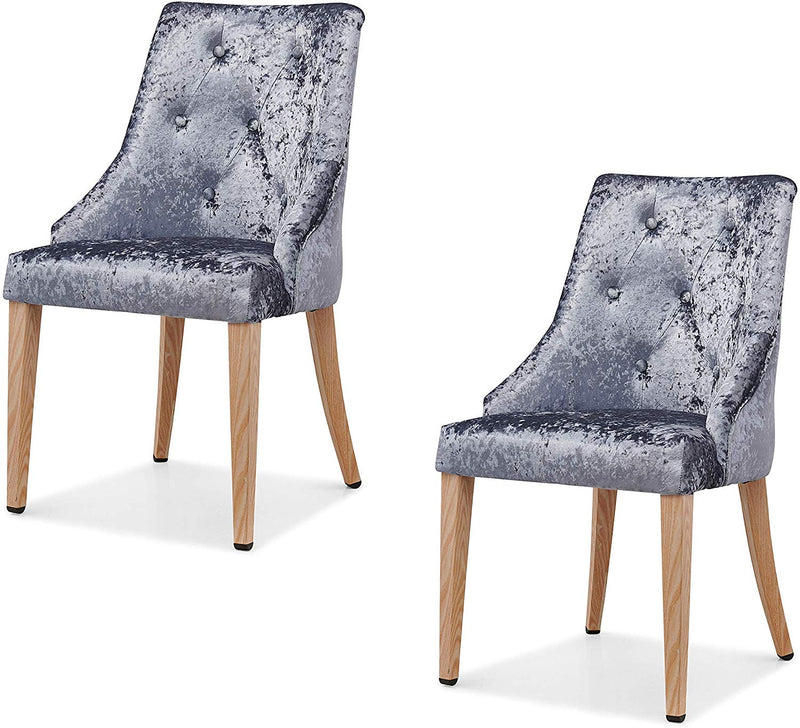 Burnaby Set of 2 Crushed Velvet Dining Chairs with Buttoned Back in Grey 1