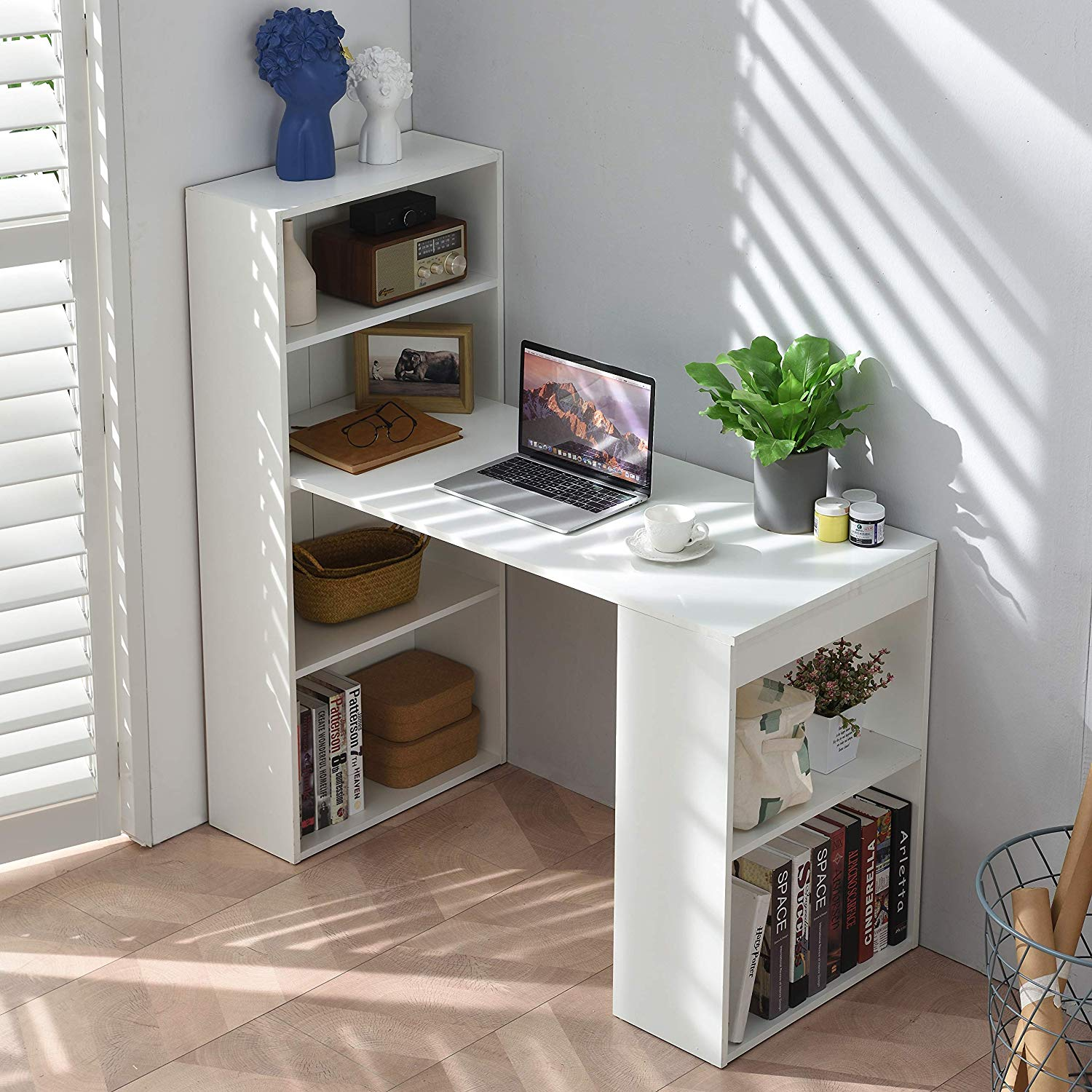 Cherry Tree Furniture BERGEN Computer Desk Home Office Desk with Shelving White