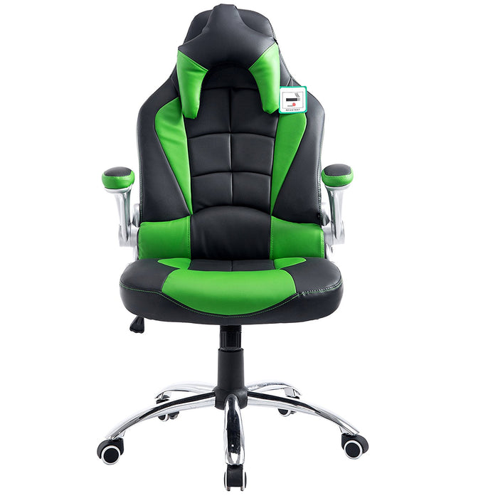 CTF High Back Racing Sport Swivel Chair with Adjustable Armrests & Headrest Cushion, Green