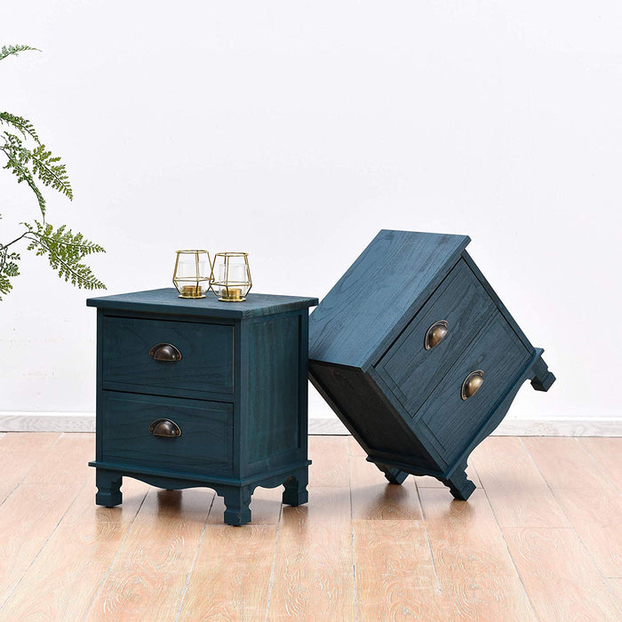 CAMROSE 2X Wooden Bedside Cabinet with Metal Cup Pull Handles Blue 2 Drawer Pair 2