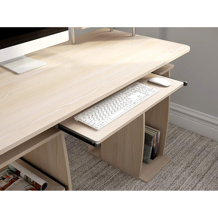 Computer Desk with Cupboard Drawers and Keyboard Tray, Natural
