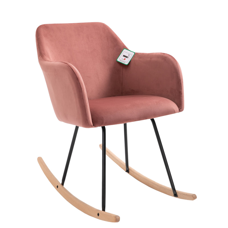 Rosa Velvet Fabric Rocking Chair with solid Beech legs Pink 1