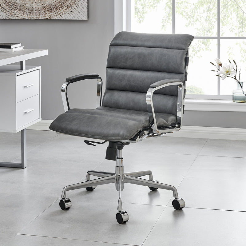Kingston Vintage Effect Faux Leather Office Chair with Chrome Frame and Aluminium Base Grey