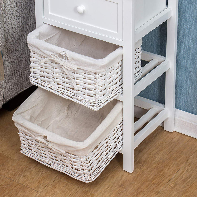 White Wood Bedside Table with 1 Drawer & 2 Wicker Baskets Storage