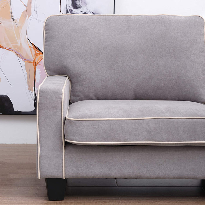 Sherbrook Large 2 Seater Fabric Sofa with Contrasting Trim in Light Grey Fabric 6