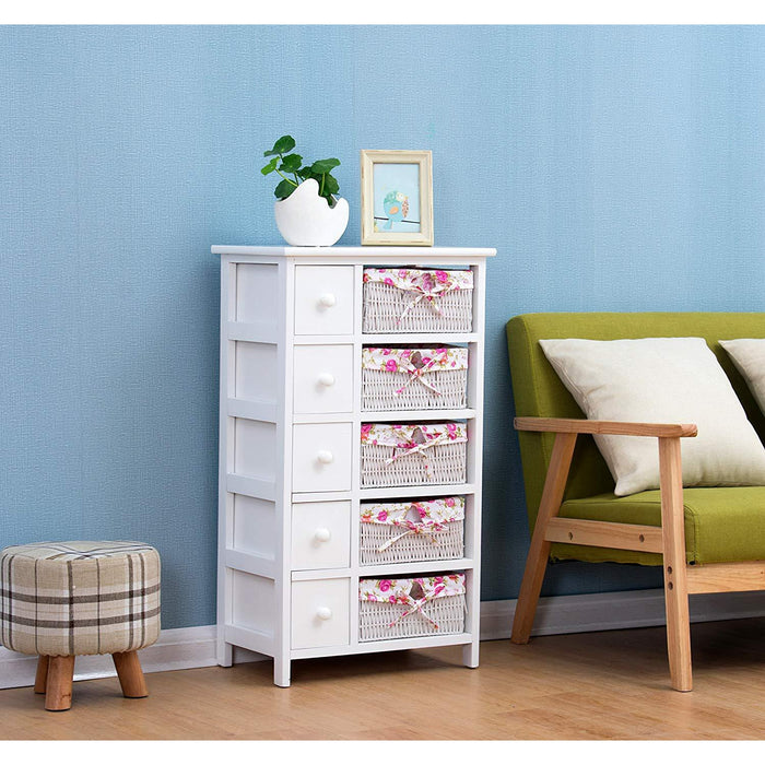 shabby chic white 5 layer chest of drawers with floral wicker baskets