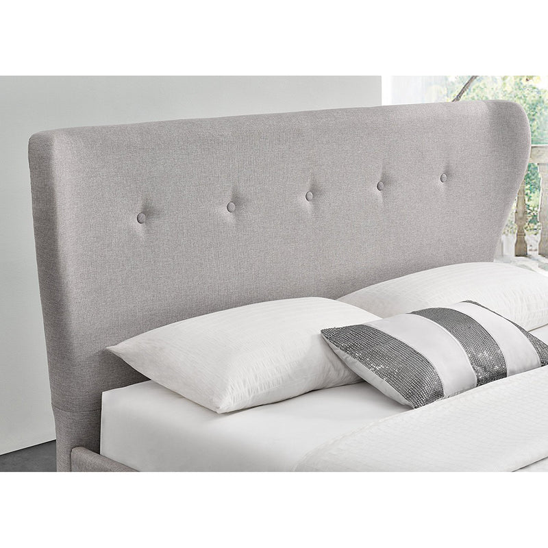 PEGASUS Mid-Century Linen Fabric Bed Frame with Curved Headboard & Solid Oak Legs, Grey