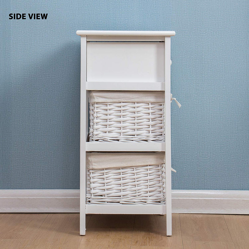 white wood bedside table with 1 drawer 2 wicker baskets storage