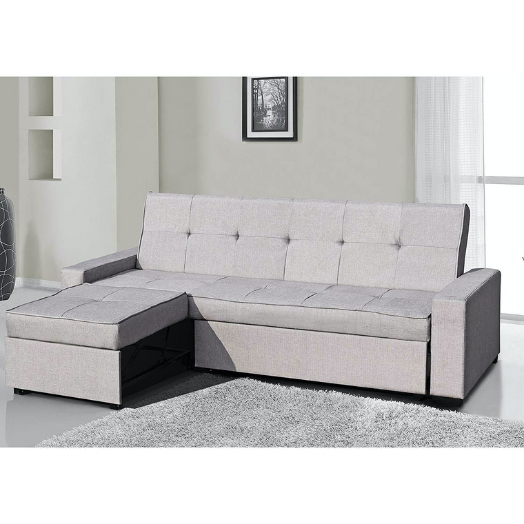 SALM 3-Seater Sofa with Convertible Chaise Grey Fabric