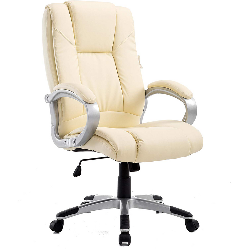 Cherry Tree Furniture High Back PU Leather Executive Swivel Office Chair, MO59 Cream