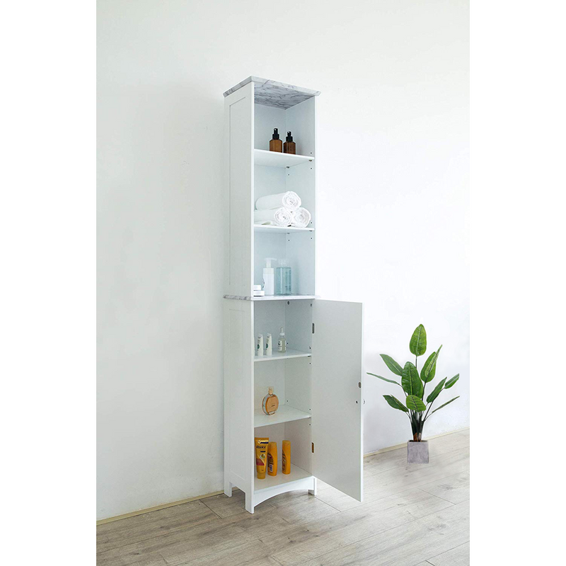 Tallboy Free Standing Bathroom Cabinet Tall Storage Unit Cupboard, BAT-02 White