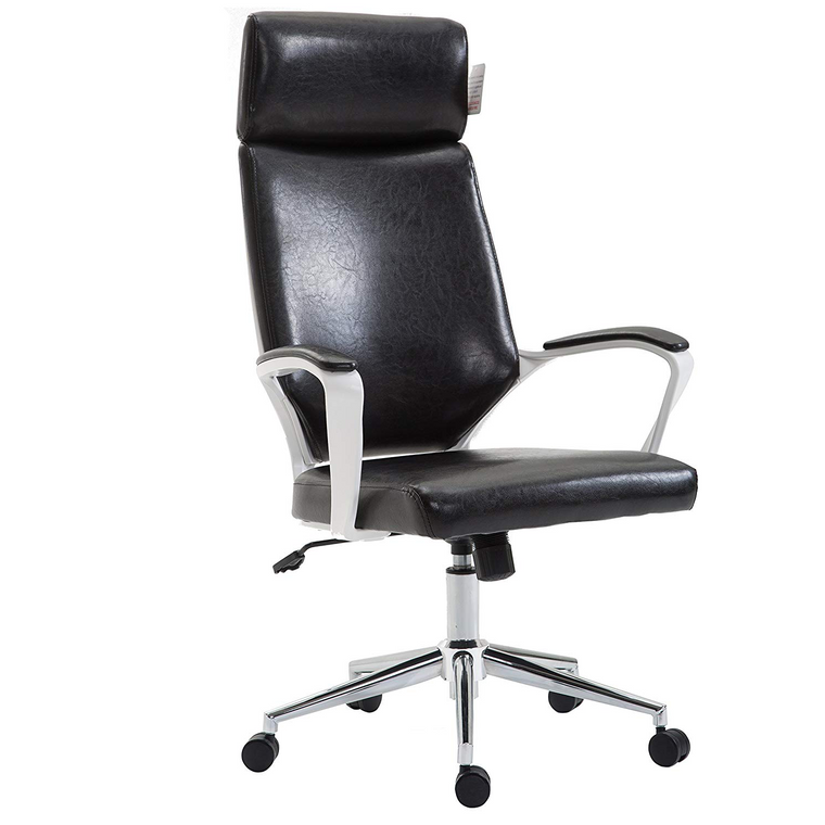 Cherry Tree Furniture High Back Modern Design PU Leather Swivel Office Chair Computer Desk Chair, MO68 Black