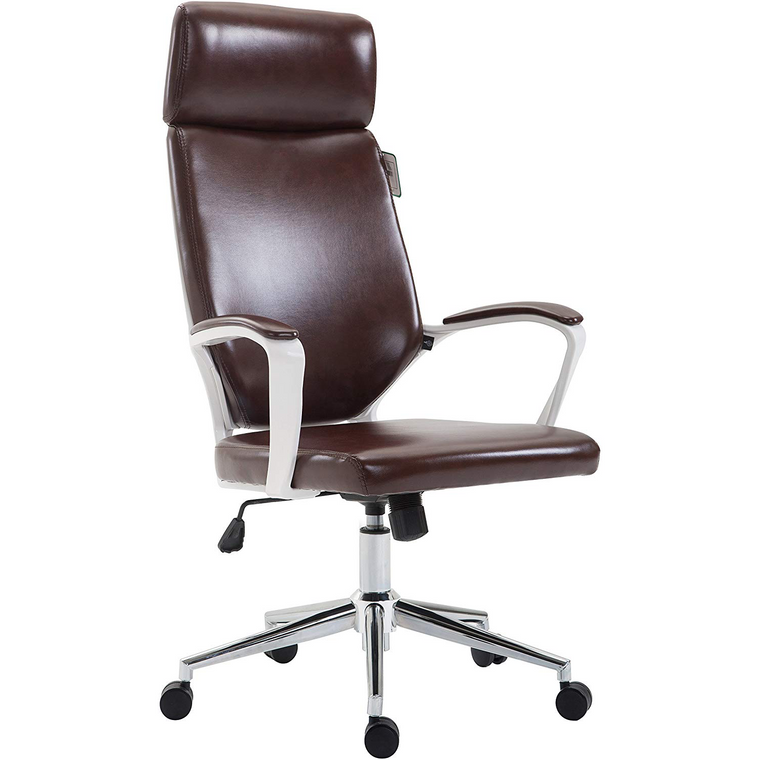 Cherry Tree Furniture High Back Modern Design PU Leather Swivel Office Chair Computer Desk Chair, MO68 Brown
