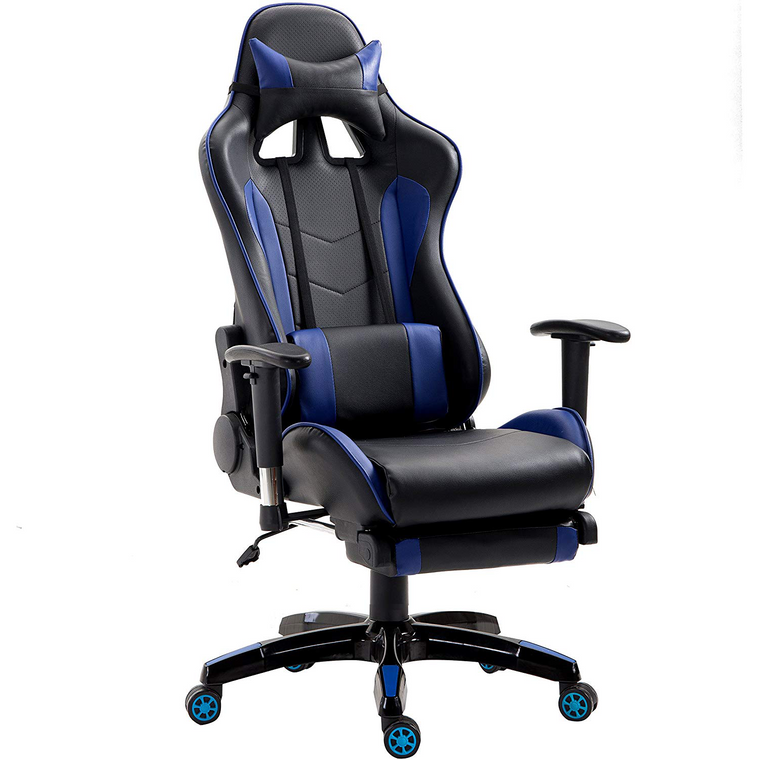 Cherry Tree Furniture High Back Gaming Recliner Computer Chair with Adjustable Armrests, Headrest & Lumbar Cushion and Extendable Footrest, MR69 Blue