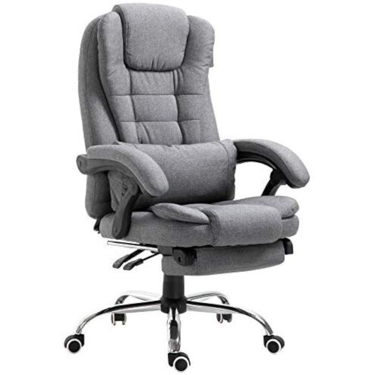 Executive Reclining Computer Desk Chair With Footrest Headrest And Lumbar Cushion Support Furniture Mr34 Grey Fabric
