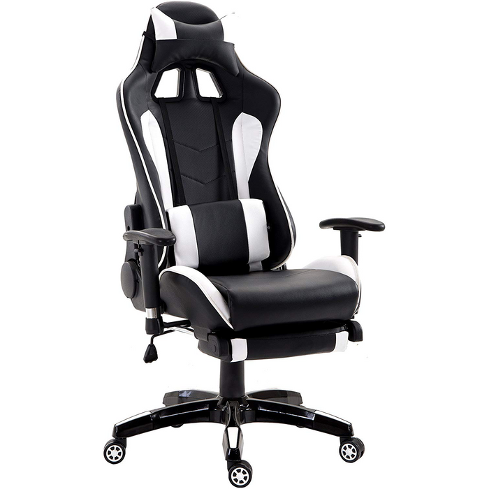 Cherry Tree Furniture High Back Gaming Recliner Computer Chair with Adjustable Armrests, Headrest & Lumbar Cushion and Extendable Footrest, MR69 White