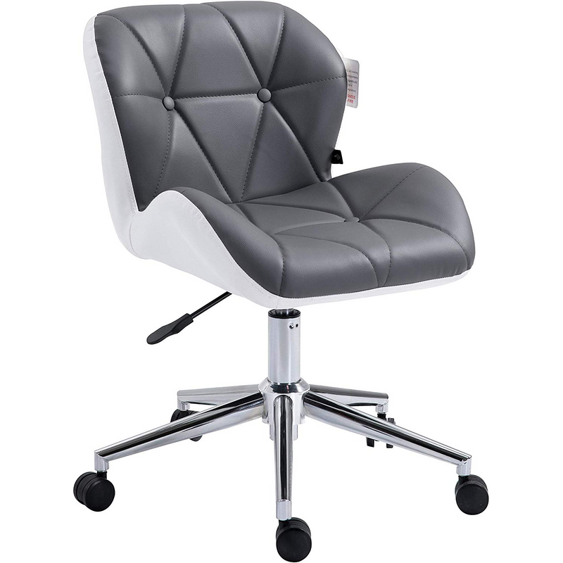 Cherry Tree Furniture Faux Leather Chrome Base Tufted Swivel Office Chair Desk Chair, Grey & White