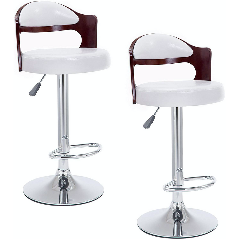 SET OF 2 Wooden Stools White Faux Leather Chrome Base Height Adjustable Swivel Barstool Kitchen Stool MB210