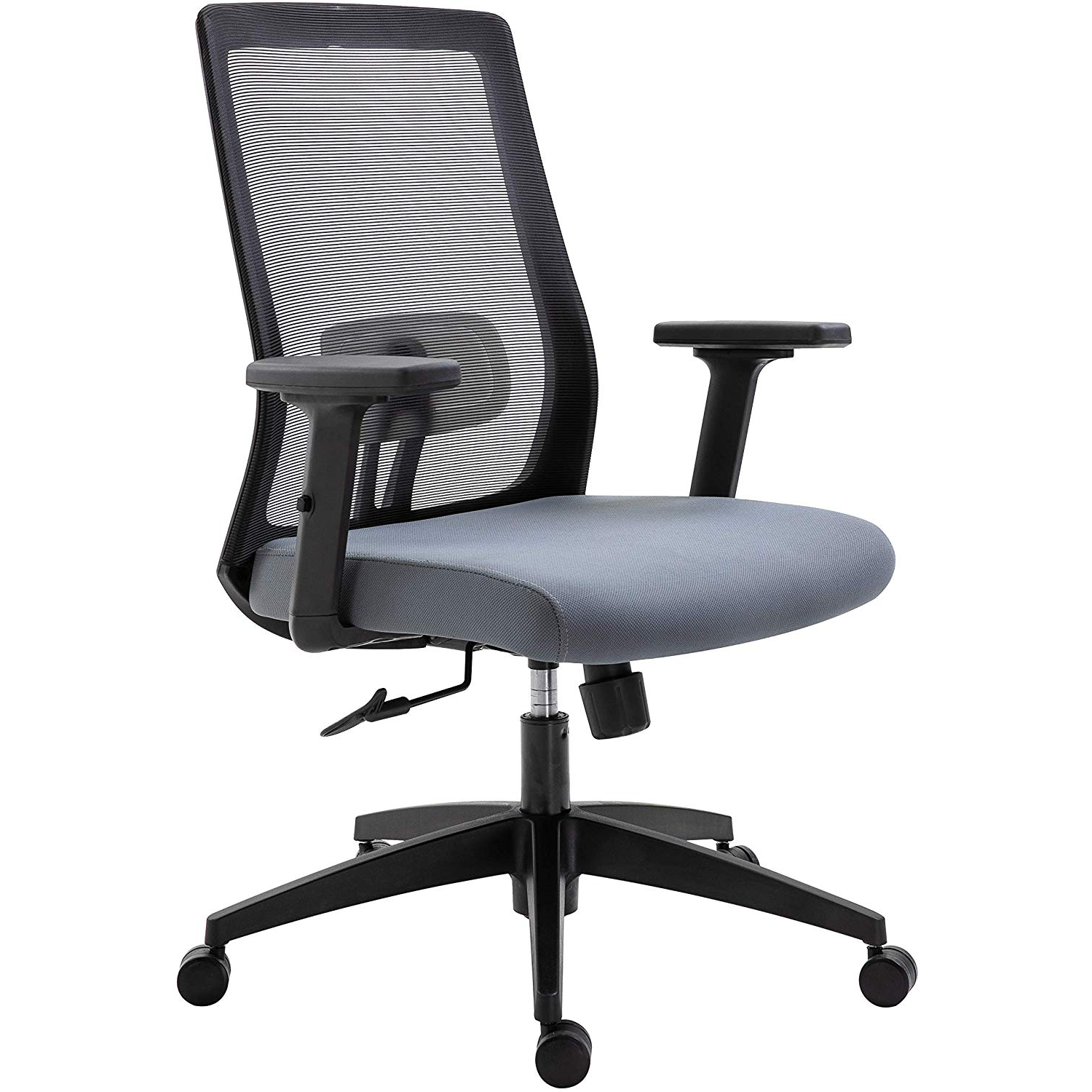 Cherry Tree Furniture Mesh Fabric Desk Chair Office Chair with Adjustable Armrests & Lumbar Support Grey, Without Headrest