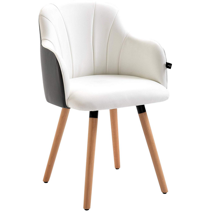 Dining Chair in White & Grey Faux Leather
