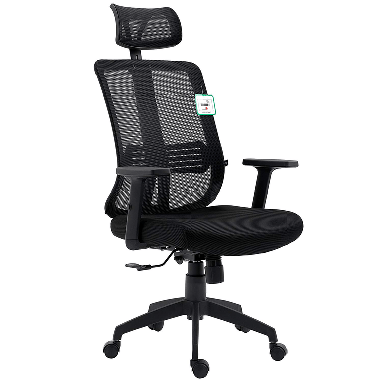 Black Mesh High Back Executive Office Chair Swivel Desk Chair with Synchro-Tilt, Adjustable Armrest & Headrest