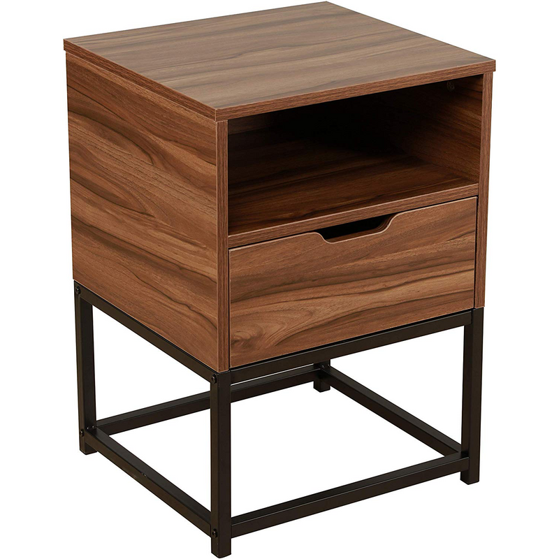 CLIVE Mid-Century Style Walnut Colour Bedside Table Nightstand End Table With Black Metal Frame, BC-01