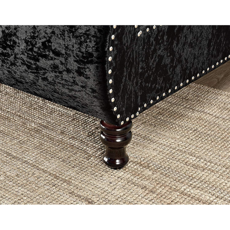 DESIREE Chesterfield Studded Sleigh Bed Black Crushed Velvet Fabric with Diamante Headboard