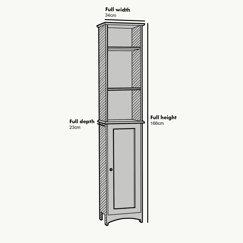 Tallboy Free Standing Bathroom Cabinet Tall Storage Unit Cupboard, BAT-02 Grey
