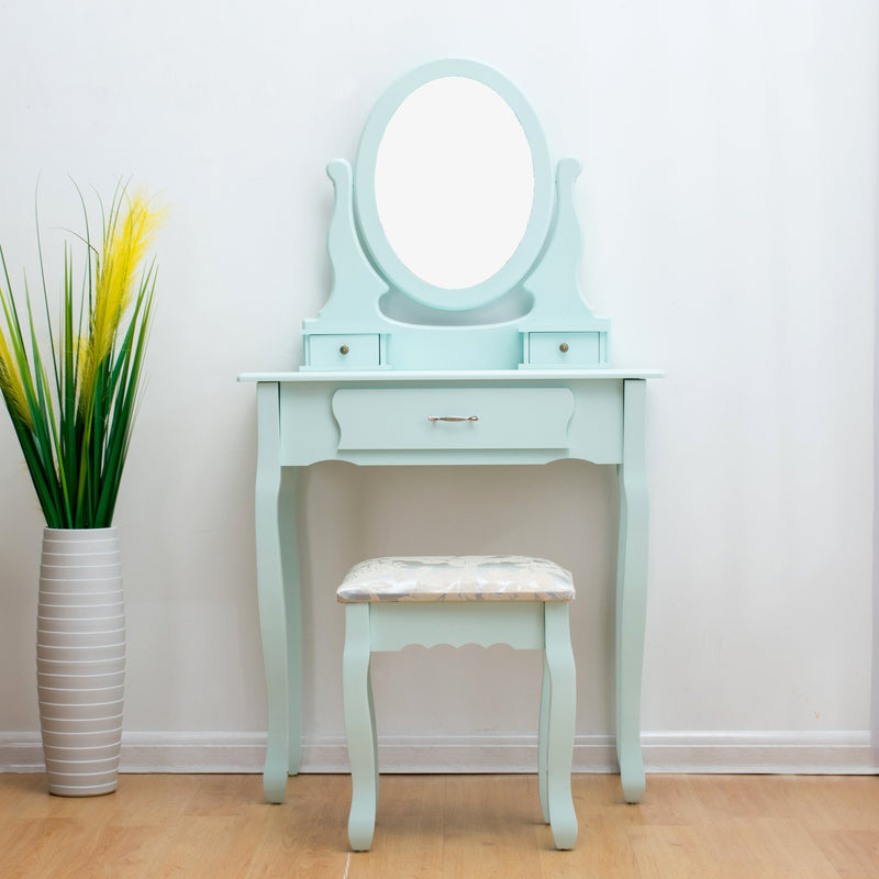 3-Drawer Makeup Dressing Table Set with Stool Oval Mirror & Stool Duck Egg