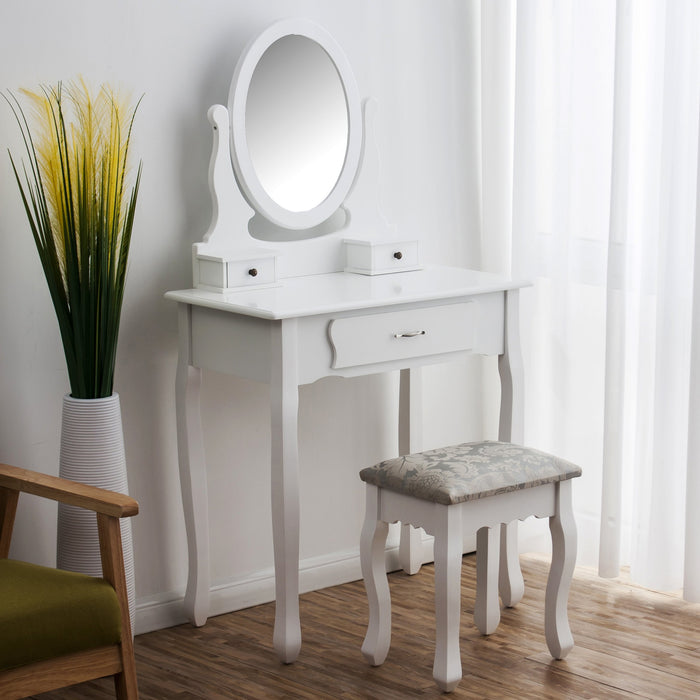 3-Drawer Makeup Dressing Table Set with Stool Oval Mirror & Stool