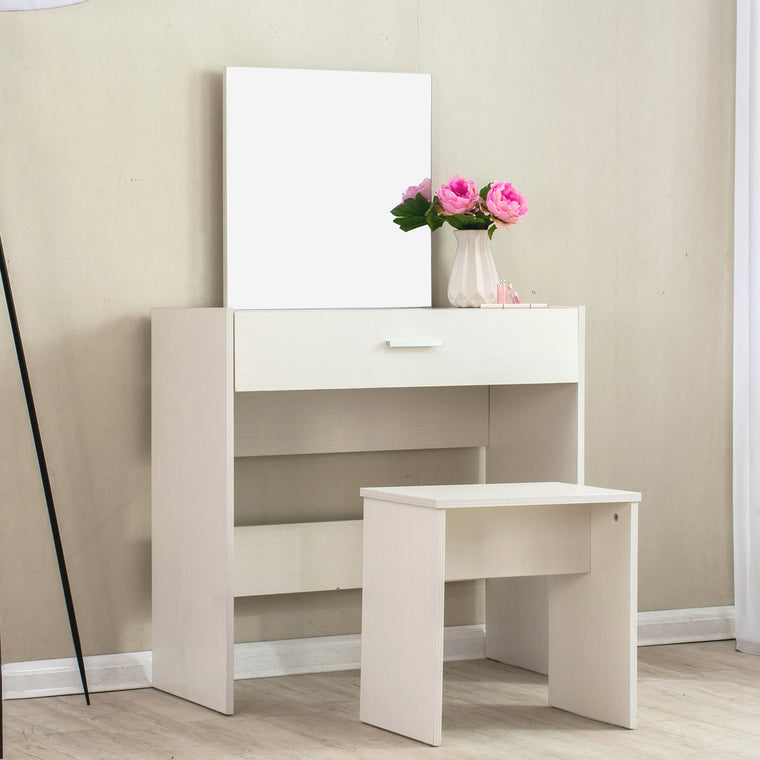 1-Drawer Modern Beige Dressing Table with Stool