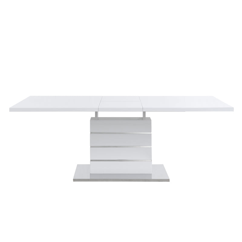 Hayne High Gloss White Extending Dining Table 6 to 8 Seater 7